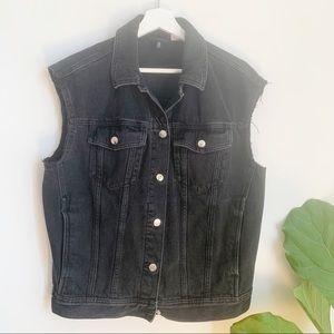 H&M Divided Denim Vest Black Faded Sleeveless S